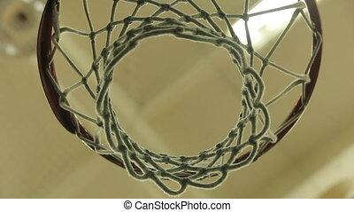 White net of a basketball hoop. Net, ball