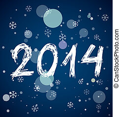 White new year 2014 on blue background
