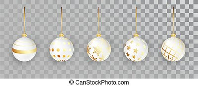 White New Year balls set with pattern on a transparent background. Christmas bauble for design. Xmas festive decoration objects. Xmas isolated shine decor.