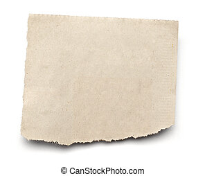 close up of a white ripped piece of news paper on on white background with clipping path