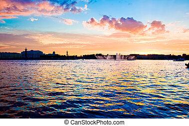 White night in Saint Petersburg, Neva river