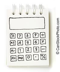 white note book drawing as a calculator