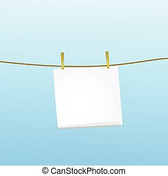 White note hanging on the rope
