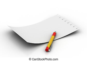 White note pad with pen
