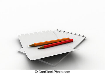 White note pad with pencil