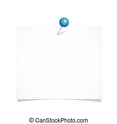 white note paper with blue pin isolated on a white background