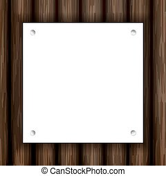 white note paper with pin on plank wood,