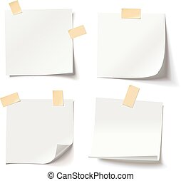 White note papers with curled corner and adhesive tape,...