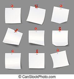 White note papers with thumbtacks. Blank paper notices  red push pins vector illustration