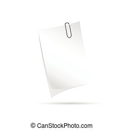 note with paper clip vector illustration
