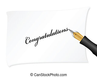 White note with text (Congratulations). Vector illustration.