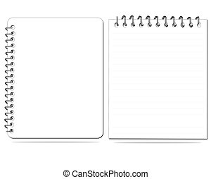 white notebook (blank paper). Vector illustration.