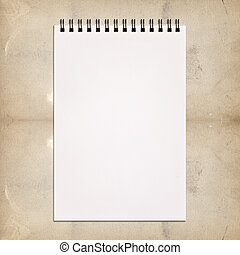 White notebook for painting on vintage background