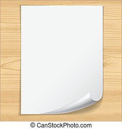 White notebook paper sheet isolated on wood background.