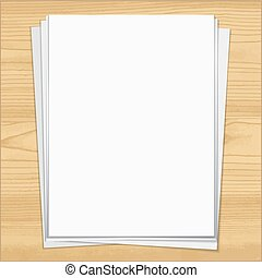 White notebook paper sheets isolated on wood background.