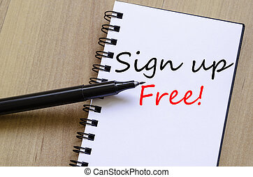 Sign up free concept