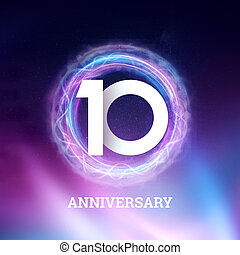 White numbers 10 years anniversary celebration on dark background with neon abstract design. celebration template, Greeting card, holiday template, flyer, copy space.