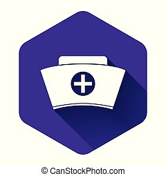 White Nurse hat with cross icon isolated with long shadow. Medical nurse cap sign. Purple hexagon button. Vector Illustration