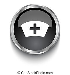 White Nurse symbol on black glossy web button