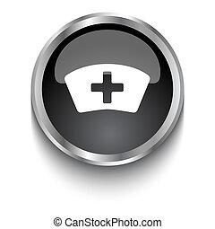 White Nurse symbol on black glossy web button