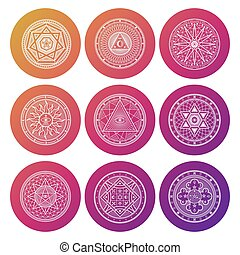 White occult, mystic, spiritual, esoteric bright vector icons