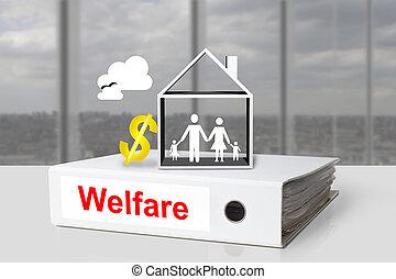 white office binder welfare house family dollar symbol