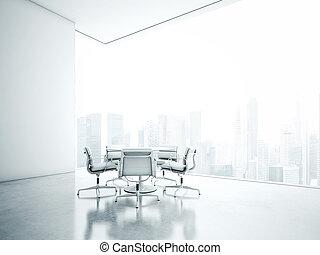 White office interior. 3D rendering - Open plane interior....