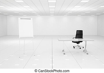 White office room with flipchart and black chair