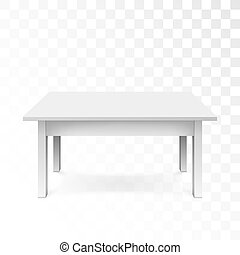 White office table with shadow isolated on transparent background. Vector illustration
