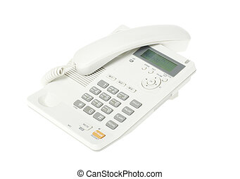 telephone - white office telephone on a white background
