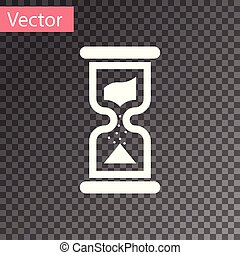 White Old hourglass with flowing sand icon isolated on transparent background. Sand clock sign. Business and time management concept. Vector Illustration