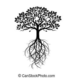 White Old Tree and Roots. Vector Illustration.