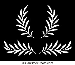 white olive branches with leaves and wreath