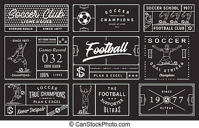 White on black background soccer badge set number 2