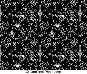 White on black seamless floral pattern
