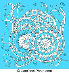 white on blue print with mandalas