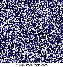White on Navy Blue Vine Pattern