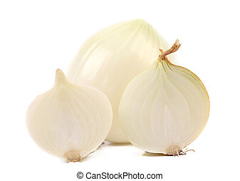 White onion close up and slices.
