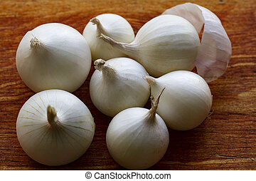 White onion on the wooden table