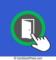 White open door icon. Exit, solution concept. Hand Mouse Cursor Clicks the Button.