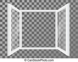 White open double window