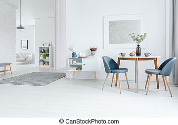 White open space apartment - dining and living room interior...