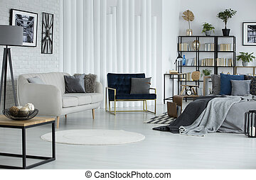 White open space interior - White round rug and sofa in open...