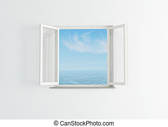 white open window to the blue sky and sea- rendering