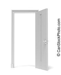 white opened door isolated on a white background. 3d render