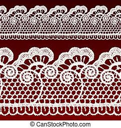 White openwork lace seamless border.
