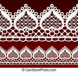 White openwork lace seamless border. Realistic vector...