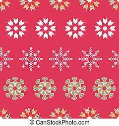 White, orange and green Christmas snowflakes on red background seamless pattern.
