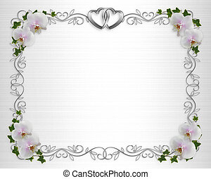 White Orchids on satin invitation border - Illustration and...