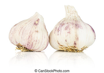 White organic garlic isolated on white